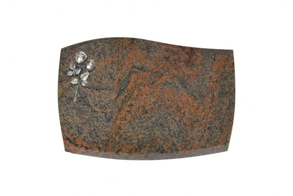 Liegeplatte, Multicolor Granit mit Fasen 40cm x 30cm x 3cm, inkl. kleiner Alurose