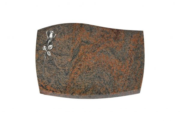Liegeplatte, Multicolor Granit mit Fasen 40cm x 30cm x 3cm, inkl. schmaler Alurose