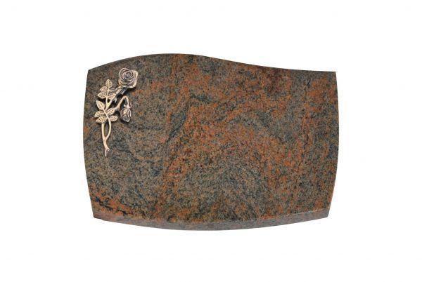 Liegeplatte, Multicolor Granit mit Fasen 40cm x 30cm x 3cm, inkl. Knick Bronzerose