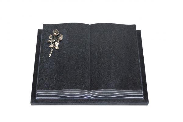 Grabbuch, Indien Black Granit, 45cm x 35cm x 8cm, inkl. kleiner Bronzerose