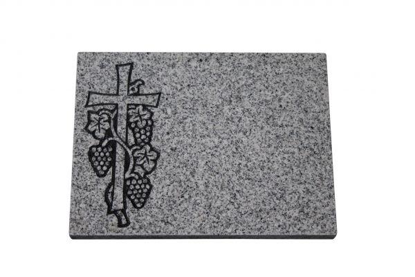 Liegeplatte, Granit 40cm x 30cm x 3cm, inkl. Kreuz und Traube