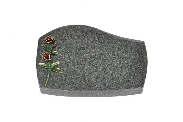 Liegeplatte, Padang Dark Granit mit Fasen 30cm x 20cm x 4cm, inkl. rot / grüner Doppelrose