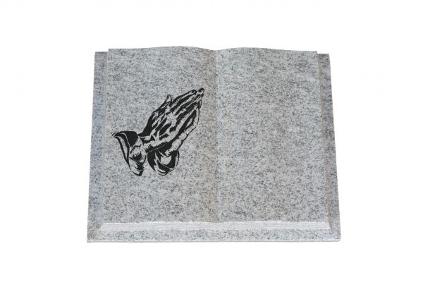 Grabbuch in Viscount Granit mit betender Hand, 50cm x 40cm x 10cm
