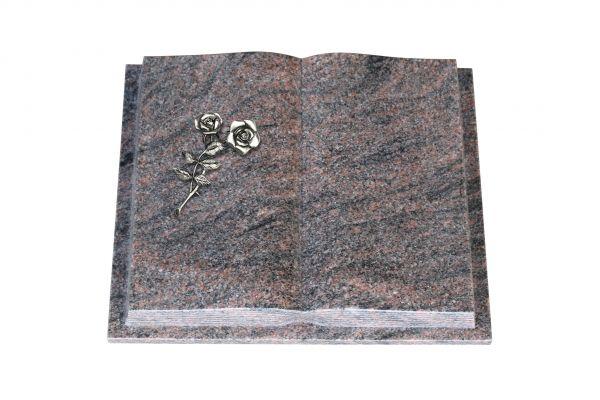 Grabbuch, Himalaya Granit, 60cm x 45cm x 10cm, inkl. Alurose mit 2 Blüten