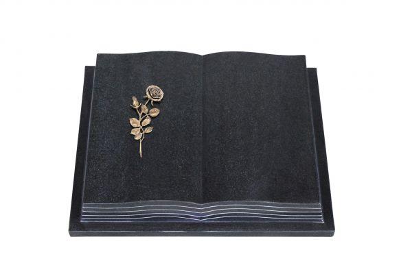 Grabbuch, Indien Black Granit, 60cm x 45cm x 10cm, inkl. Bronzerose mit Blüte