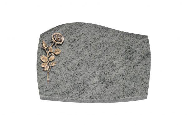 Liegeplatte, Viscount White Granit mit Fasen 40cm x 30cm x 3cm, inkl. Bronzerose