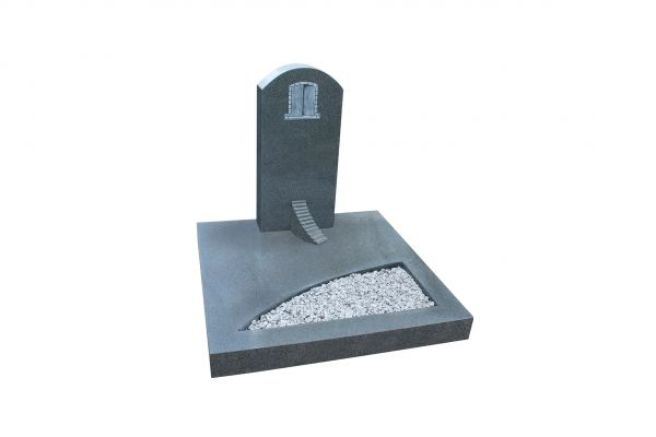Urnengrabanlage, Padang Dark Granit, inkl. Treppe gehauen