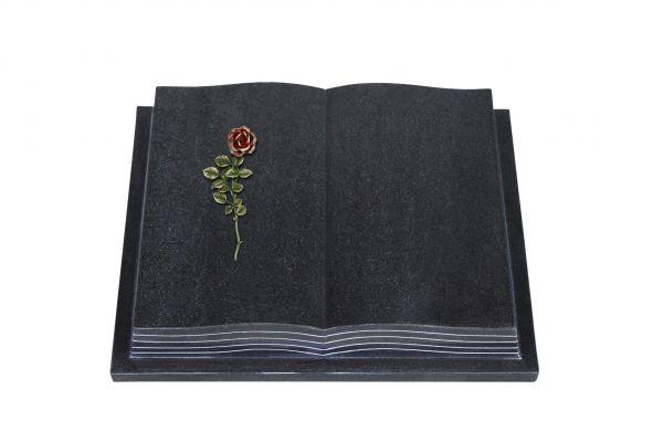 Grabbuch, Indien Black Granit, 60cm x 45cm x 10cm, inkl. roter Rose