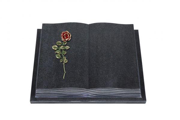Grabbuch, Indien Black Granit, 45cm x 35cm x 8cm, inkl. roter Rose