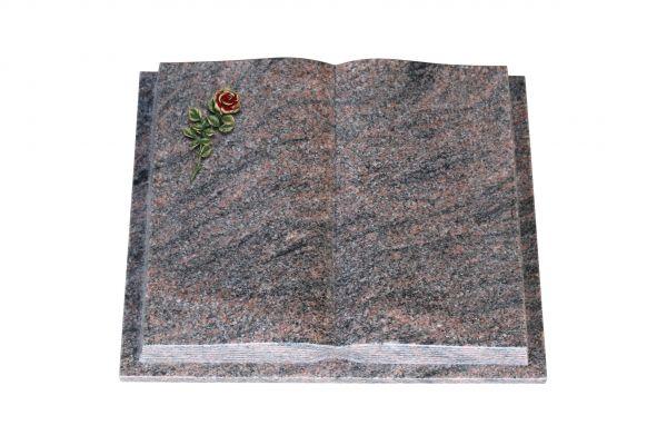 Grabbuch, Himalaya Granit, 45cm x 35cm x 8cm, inkl. kleiner roten Rose