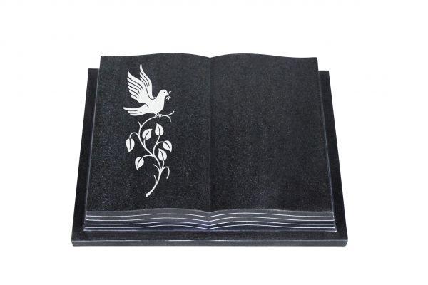 Grabbuch, Indien Black Granit, 40cm x 30cm x 8cm, inkl. Vogel auf Ast