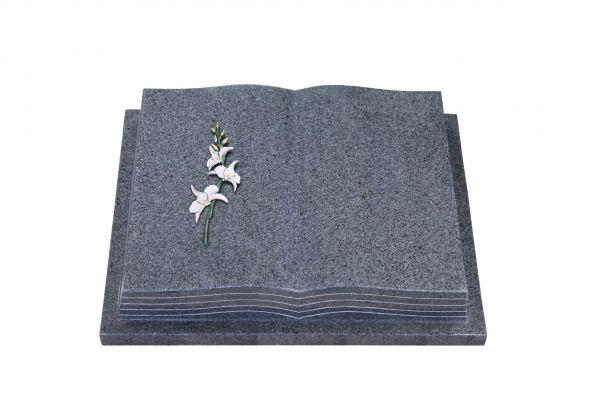 Grabbuch, Padang Dark Granit, 45cm x 35cm x 8cm, inkl. Lilie