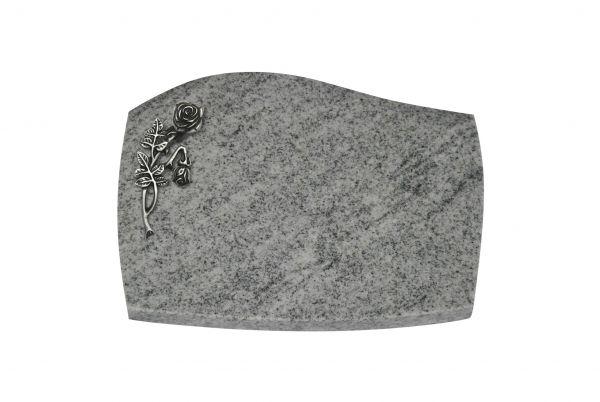 Liegeplatte, Viscount White Granit mit Fasen 40cm x 30cm x 3cm, inkl. Alu Knickrose
