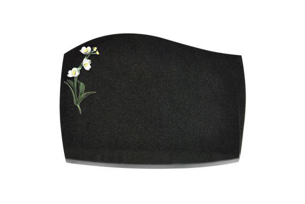 Liegeplatte, Black Granit mit Fasen 40cm x 30cm x 3cm, inkl. farbiger Blume
