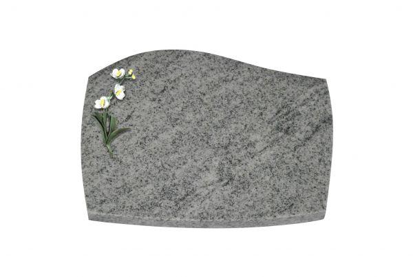Liegeplatte, Viscount White Granit mit Fasen 40cm x 30cm x 3cm, inkl. farbiger Blume