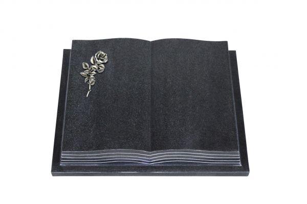 Grabbuch, Indien Black Granit, 45cm x 35cm x 8cm, inkl. kleiner Alurose mit Blüte