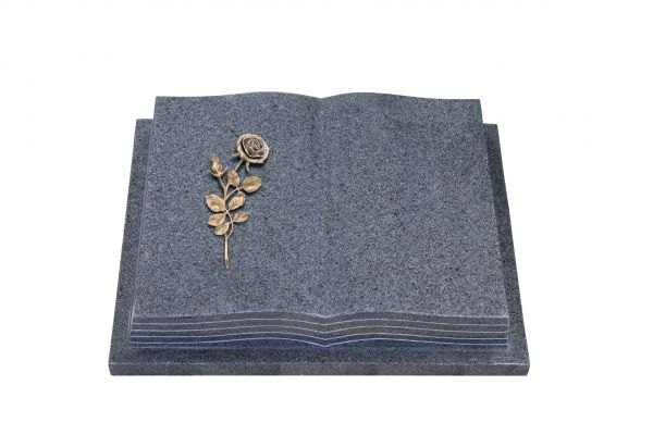 Grabbuch, Padang Dark Granit, 45cm x 35cm x 8cm, inkl. Bronzerose mit Blüte