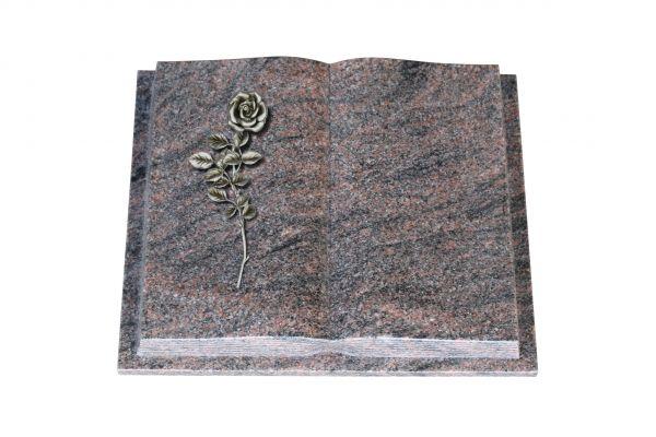 Grabbuch, Himalaya Granit, 45cm x 35cm x 8cm, inkl. Alurose mit Blättern