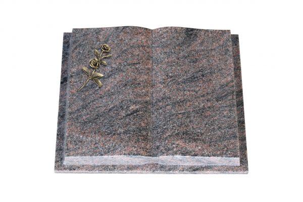 Grabbuch, Himalaya Granit, 45cm x 35cm x 8cm, inkl. Bronze Doppelrose