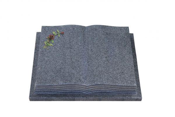 Grabbuch, Padang Dark Granit, 45cm x 35cm x 8cm, inkl. kleiner gebogener farbiger Rose
