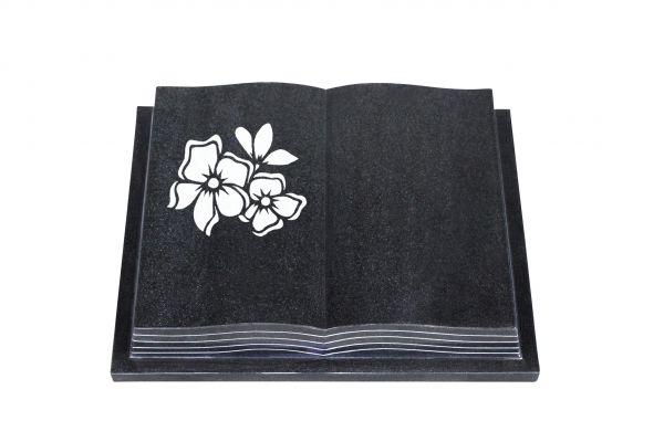 Grabbuch, Indien Black Granit, 60cm x 45cm x 10cm, inkl. Blume mit 2 Blüten