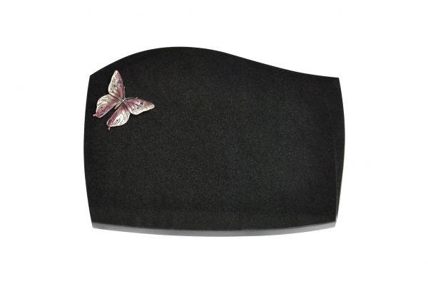 Liegeplatte, Black Granit mit Fasen 40cm x 30cm x 3cm, inkl. Schmetterling aus Alu
