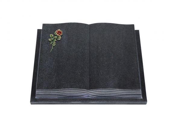 Grabbuch, Indien Black Granit, 45cm x 35cm x 8cm, inkl. kleiner roten Rose