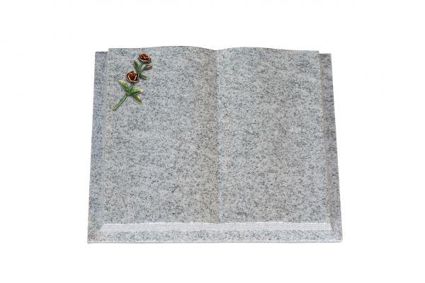 Grabbuch, Viscount White Granit, 50cm x 40cm x 10cm, inkl. farbiger Doppelrose