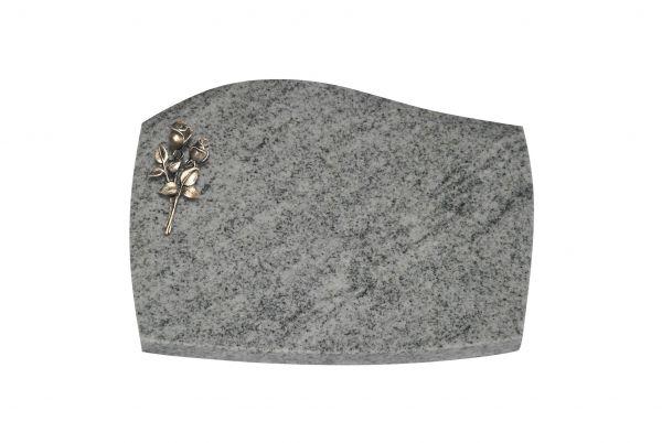 Liegeplatte, Viscount White Granit mit Fasen 40cm x 30cm x 3cm, inkl. kleiner Bronze Rose