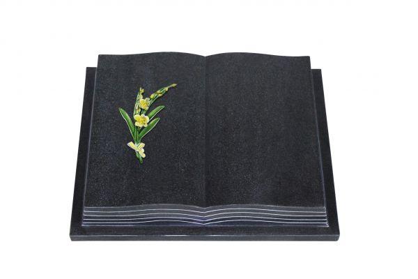 Grabbuch, Indien Black Granit, 60cm x 45cm x 10cm, inkl. Orchidee aus Alu