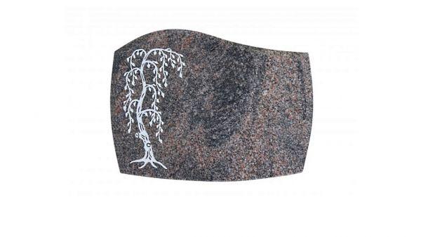 Liegeplatte , Himalaya Granit gebogen mit Fasen 40cm x 30cm x 3cm, inkl. Trauerweide