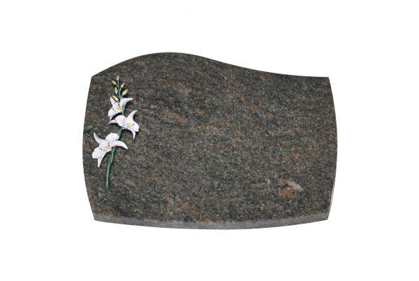 Liegeplatte, Orion Granit mit Fasen 40cm x 30cm x 3cm, inkl. Lilie farbig