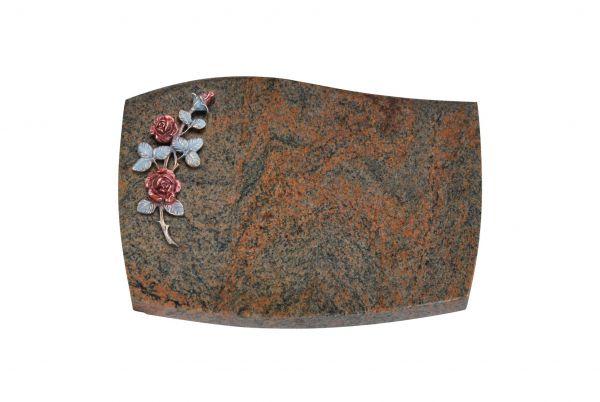 Liegeplatte, Multicolor Granit mit Fasen 40cm x 30cm x 3cm, inkl. farbiger Rose aus Bronze