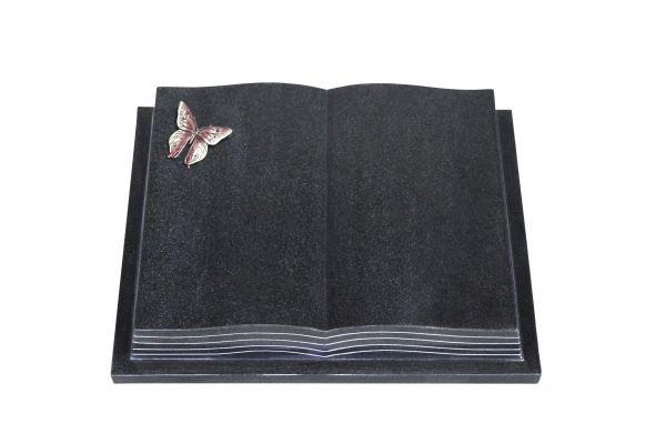 Grabbuch, Indien Black Granit, 45cm x 35cm x 8cm, inkl. Schmetterling aus Alu
