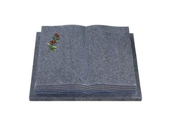 Grabbuch, Padang Dark Granit, 45cm x 35cm x 8cm, inkl. roter Doppelrose
