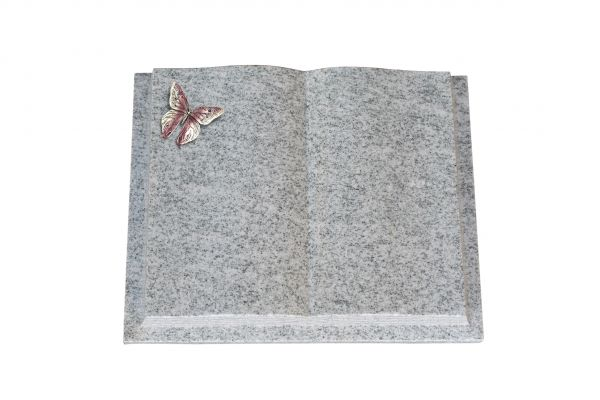Grabbuch, Viscount White Granit, 45cm x 35cm x 8cm, inkl. Alu Schmetterling