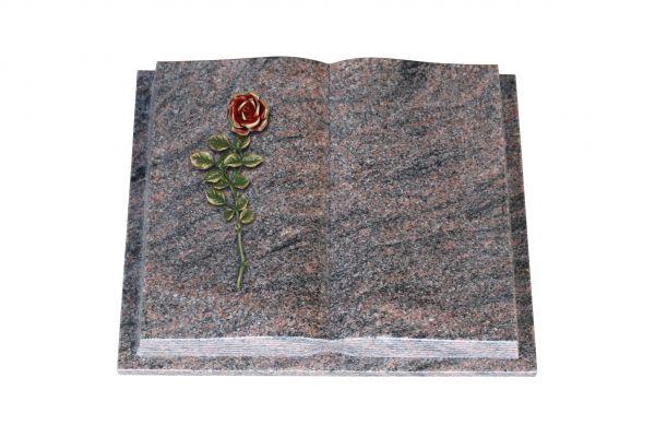 Grabbuch, Himalaya Granit, 45cm x 35cm x 8cm, inkl. roter Rose