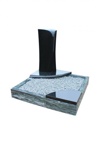 Urnengrabanlagen, Black Granit und Wave Green Granit, inkl. Einfassung