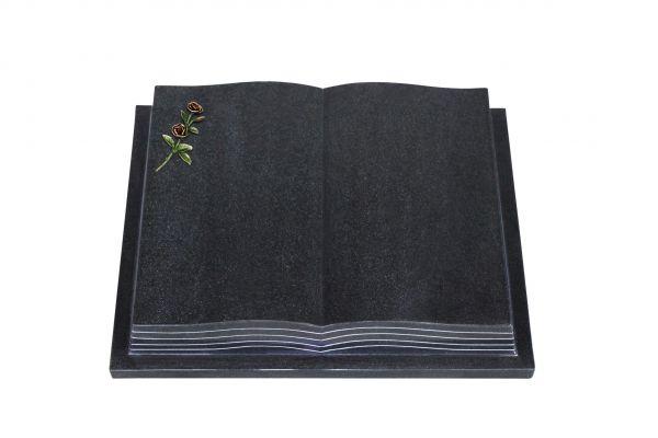 Grabbuch, Indien Black Granit, 60cm x 45cm x 10cm, inkl. farbiger Doppelrose