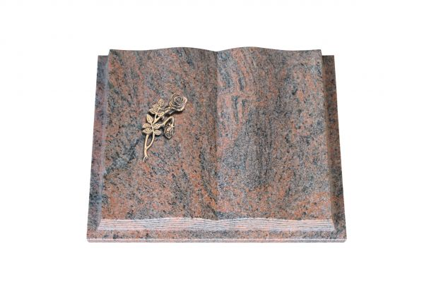 Grabbuch, Multicolor Granit, 50cm x 40cm x 10cm, inkl. Knickrose Bronze