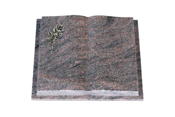 Grabbuch, Himalaya Granit, 45cm x 35cm x 8cm, inkl. Alurose mit Blüte
