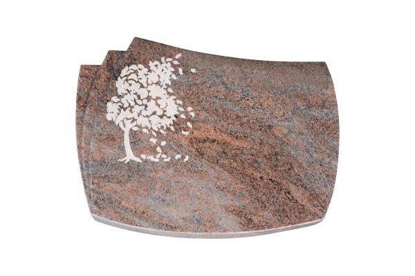 Liegestein Bach, Multicolor Granit, 40cm x 30cm x 8cm, inkl. Baum vertieft