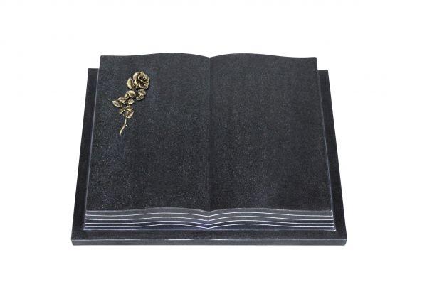 Grabbuch, Indien Black Granit, 45cm x 35cm x 8cm, inkl. kleiner Bronzerose mit Blüte