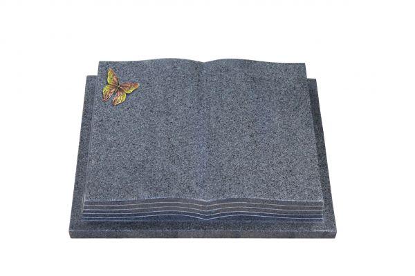Grabbuch, Padang Dark Granit, 45cm x 35cm x 8cm, inkl. Bronze Schmetterling