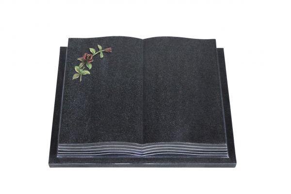 Grabbuch, Indien Black Granit, 45cm x 35cm x 8cm, inkl. gebogener farbigen Rose