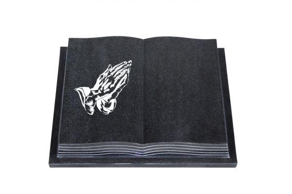 Grabbuch, Indien Black Granit, 50cm x 40cm x 10cm, inkl. betende Hand