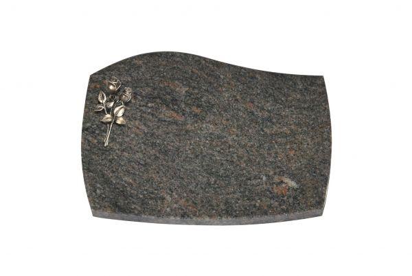 Liegeplatte, Himalaya Granit mit Fasen 40cm x 30cm x 3cm, inkl. kleiner Bronzerose
