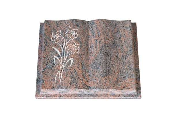 Grabbuch, Multicolor Granit, 60cm x 45cm x 10cm, inkl. Narzisse
