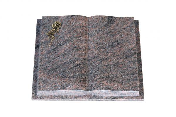 Grabbuch, Himalaya Granit, 50cm x 40cm x 10cm, inkl. kleiner Bronzerose mit Blüte