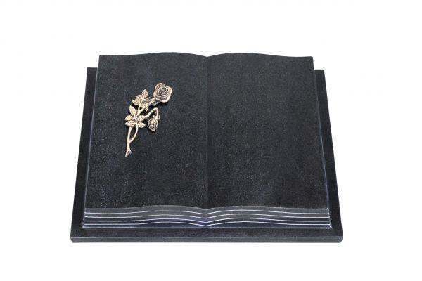 Grabbuch, Indien Black Granit, 45cm x 35cm x 8cm, inkl. Knickrose Alu